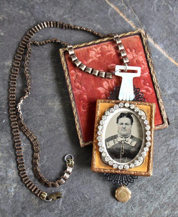 Assemblage ketting Tintype antieke foto knop vintage door OldNouveau