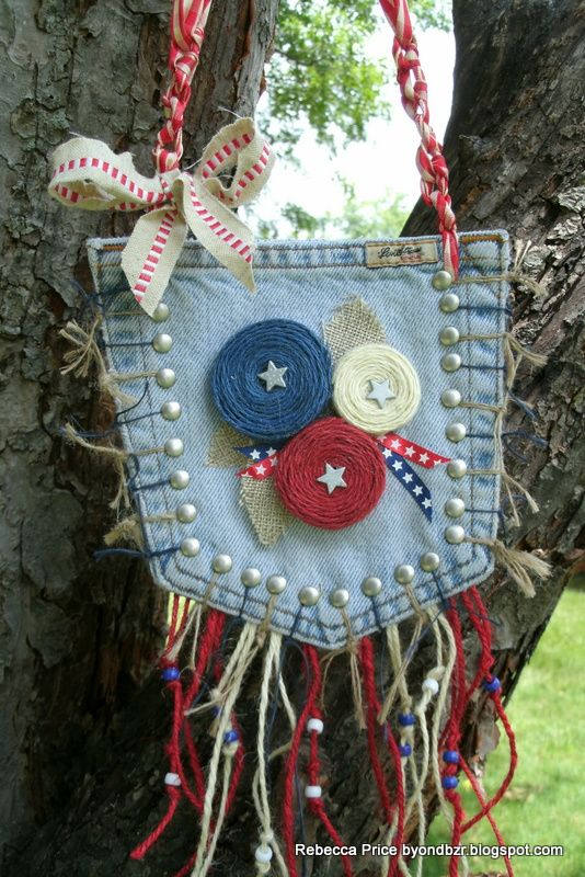 This is a denim pocket purse, but it would be a cute decoration for patriotic holidays