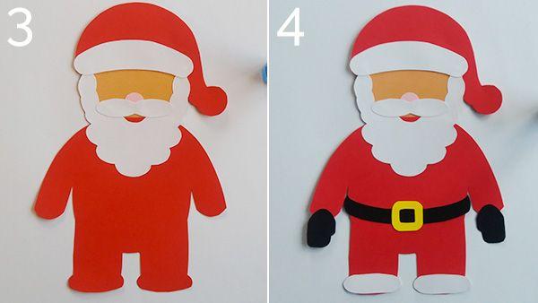 Lavoretti Di Natale Con Babbo Natale.Lavoretto Babbo Natale Di Cartoncino Cartoncini Babbo Natale Natale