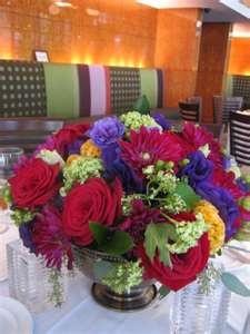 Fall Brown Burgundy Green Orange Purple Red Yellow Centerpiece Wedding ...