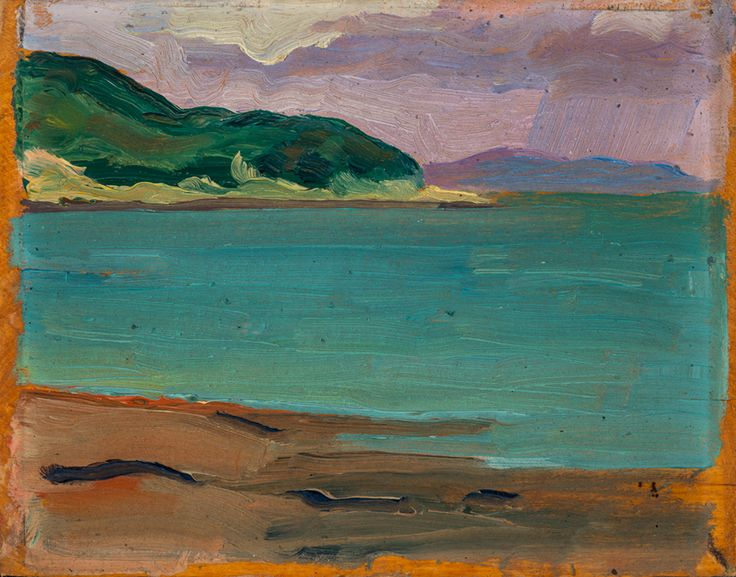 """With their fluid brushwork and vibrant colour palettes, landscapes by Lemieux from this period show the influence of Group of Seven members A.Y. Jackson and Edwin Holgate. """"Seascape, Bay St. Paul"""" (Marine, Baie Saint-Paul), 1935, Montreal Museum of Fine Arts. #ArtCanInstitute"""