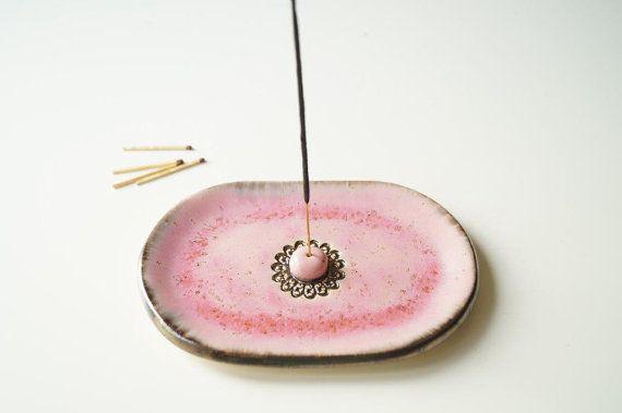 Pink Incense Stick Burner Ceramic Incense Holder Incense by bemika Más
