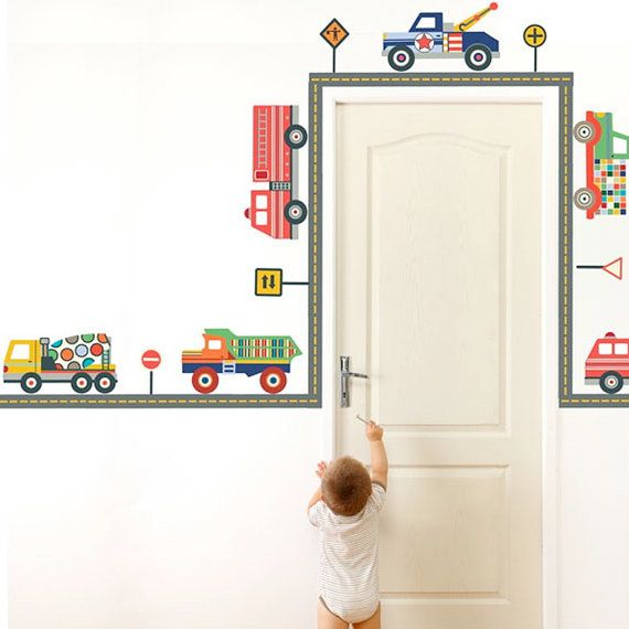 Terrific Trucks & Straight Gray Road Wall Decals by WallDressedUp