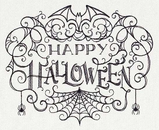 Halloween Hand Embroidery Designs | Light stitching creates an eerie look in this Halloween greeting.