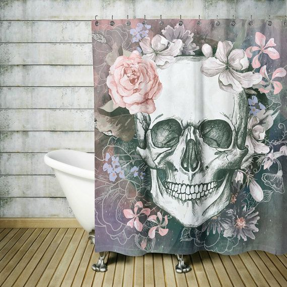 Sugar Skull Shower Curtain -Day Of The Dead-Soft- Gray Floral