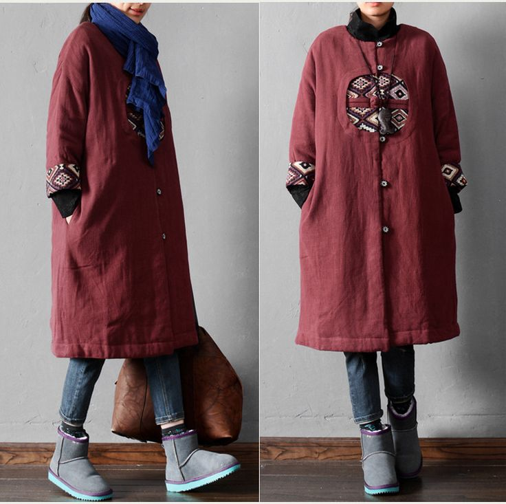 Women casual loose fitting cotton linen coat loose jacket for spring and winter -buykud