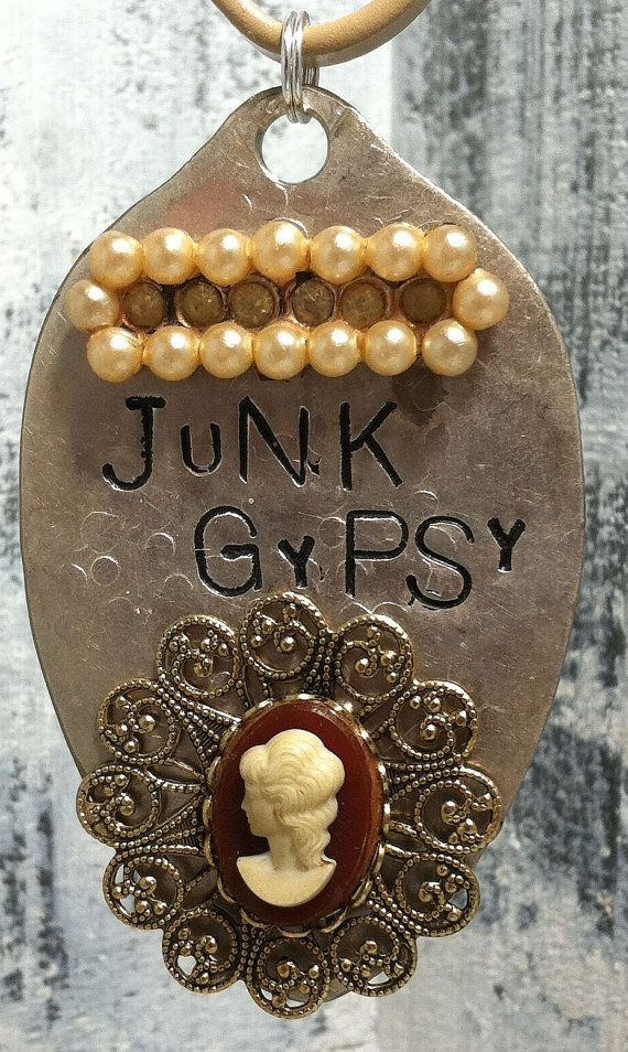 Upcycled Jewelry | STaMPeD ViNTaGe uPCyCLeD SPooN JeWeLRy PeNDaNT - JuNK GyPSy ...