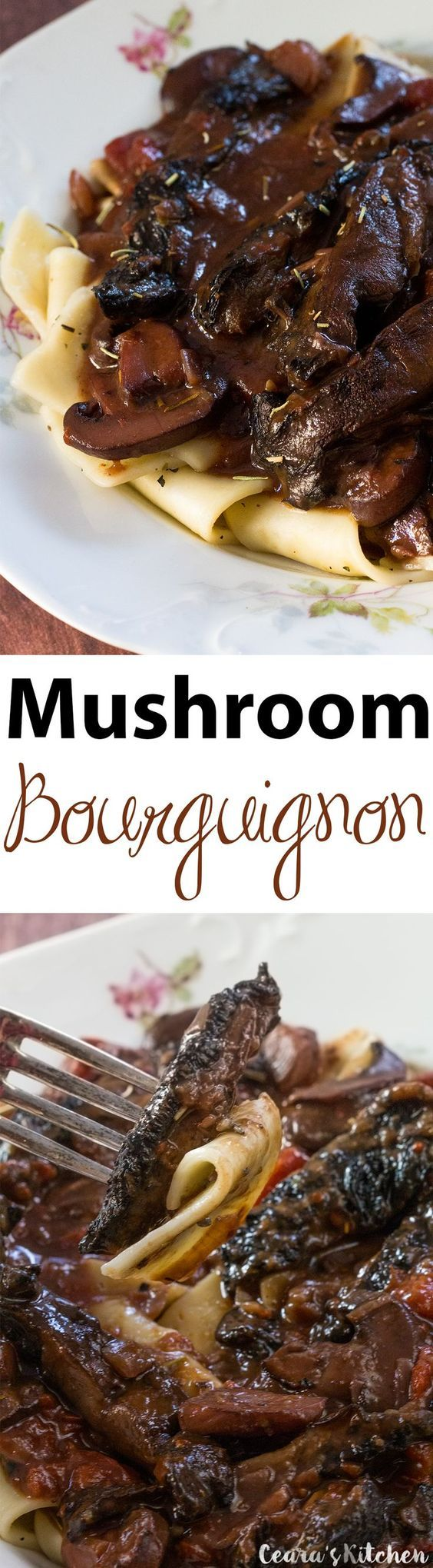 Vegan Beef Bourguignon made with a hearty, meaty & incredibly flavorful mushroom and and red wine sauce. This one's a classic that vegetarians no longer need to miss out on! Serve over pasta or potatoes with fresh bread for the perfect rustic meal!   Ceara's Kitchen