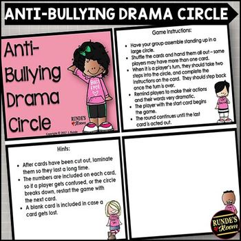 Anti-Bullying Drama Circle - perfect discussion starter for anti-bullying or pink shirt day activities