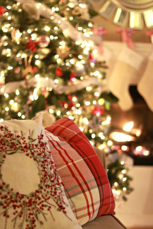 Christmas Home Tour | 2014.  Pillows from HomeGoods.  Shop right after Halloween for best selection.