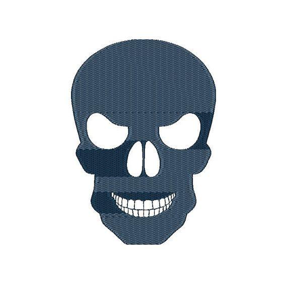 Skull Machine Embroidery Design Instant Download Three