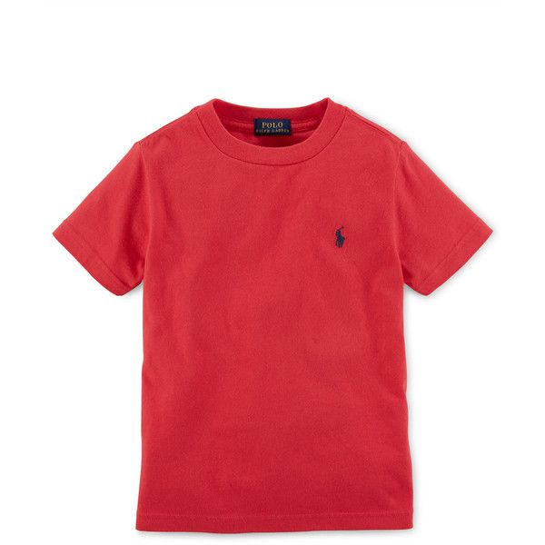 Short-Sleeve Crewneck Tee ❤ liked on Polyvore featuring tops, t-shirts, crew t shirts, short sleeve tee, red short sleeve top, short sleeve t shirt and crew neck tops