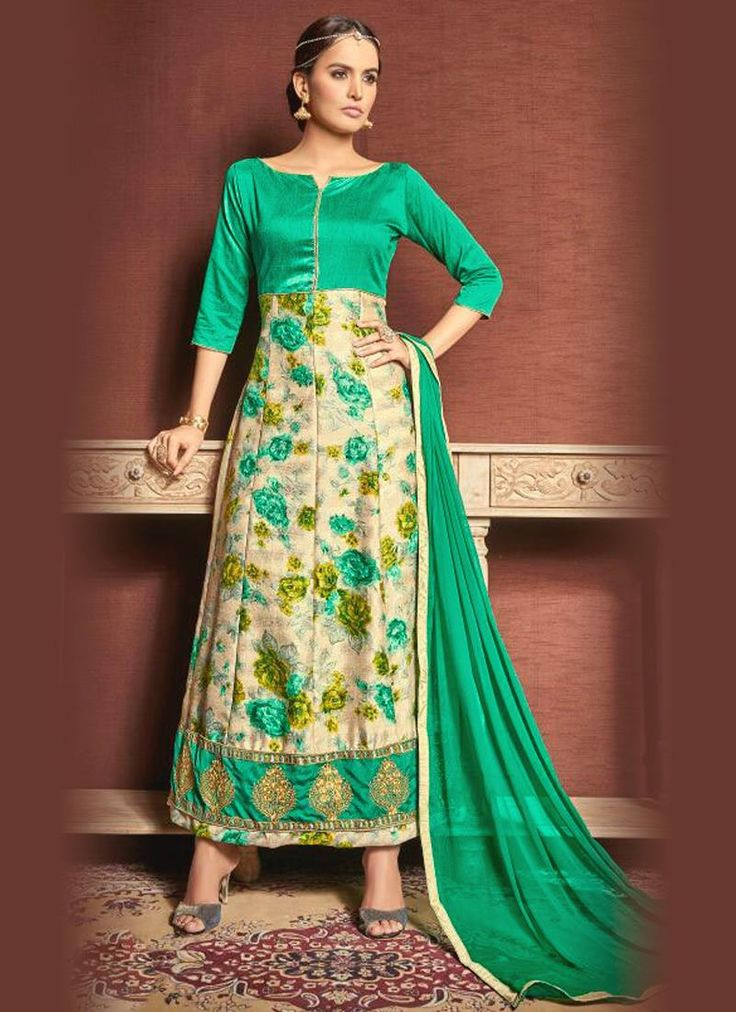 Find latest trend of salwar kameez. Buy this stupendous lace and print work designer suit for festival and party . Worldwide free shipping.