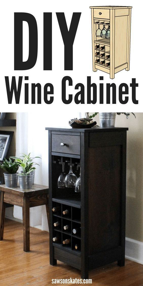 There are lots of projects, plans and ideas that show how to make a wine cabinet, but this free DIY plan has it all! It shows how to build a cabinet that features wine glass holders, wine bottle holders and a drawer for storage. Perfect for small spaces!