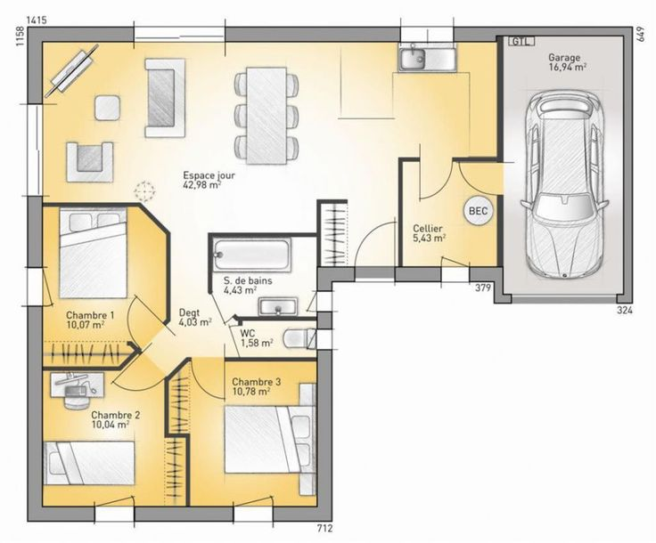 Maison lumina 89 g maisons france confort 89 m2 for Maison a construire plan