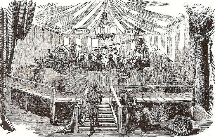 Woodcut of the 1853 celebration dinner in the mould of the