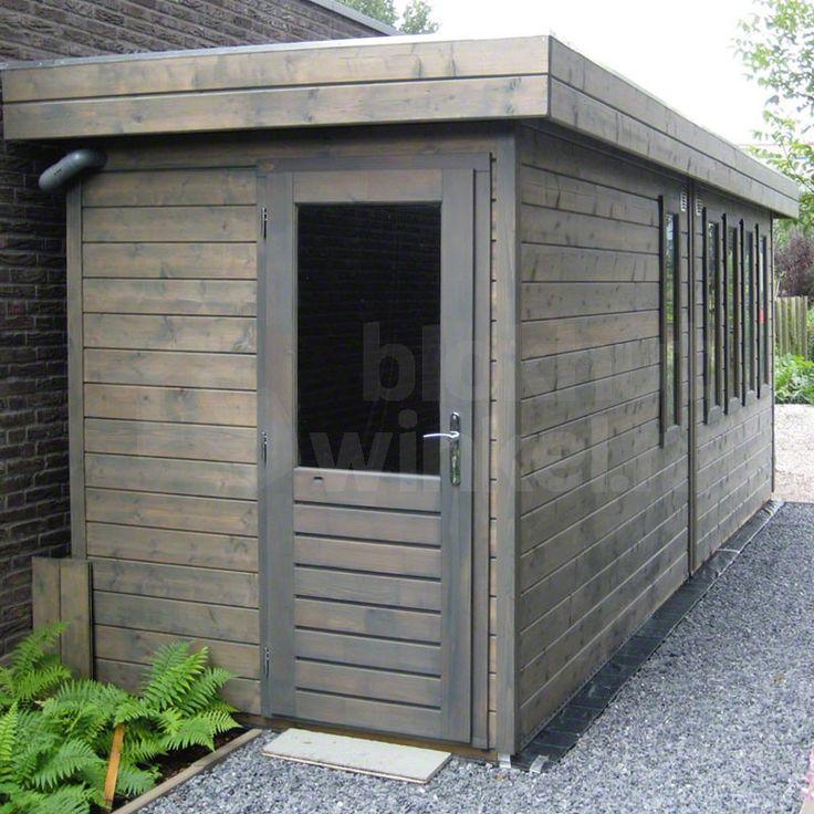 Smal en lang dompel geïmpregneerd tuinhuis Hengelo 180x600cm bestaande uit twee bergingen, geleverd met twee keer een enkele deur PE61 en 5 vaste ramen PJ06. Alle glas is dubbel glas!