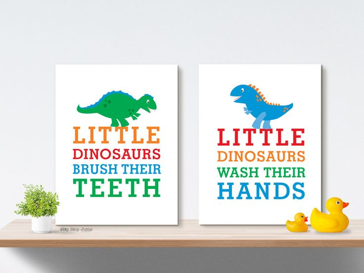 Delight the little boy in your life with these four fun dinosaur bathroom art print! These playful wall posters make the perfect baby shower or birthday gift idea. This listing includes all four art p