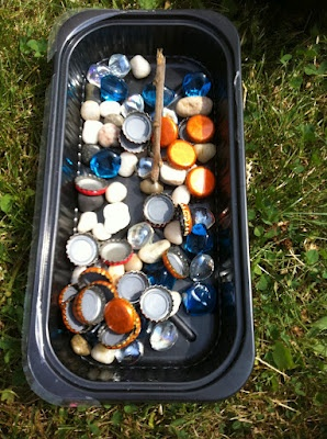 add gems and bottle caps to decorate mud pies