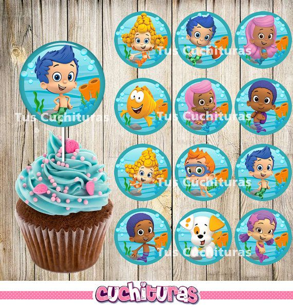 12 Bubble Guppies Cupcakes Toppers instant download Printable by TusCuchituras | Etsy