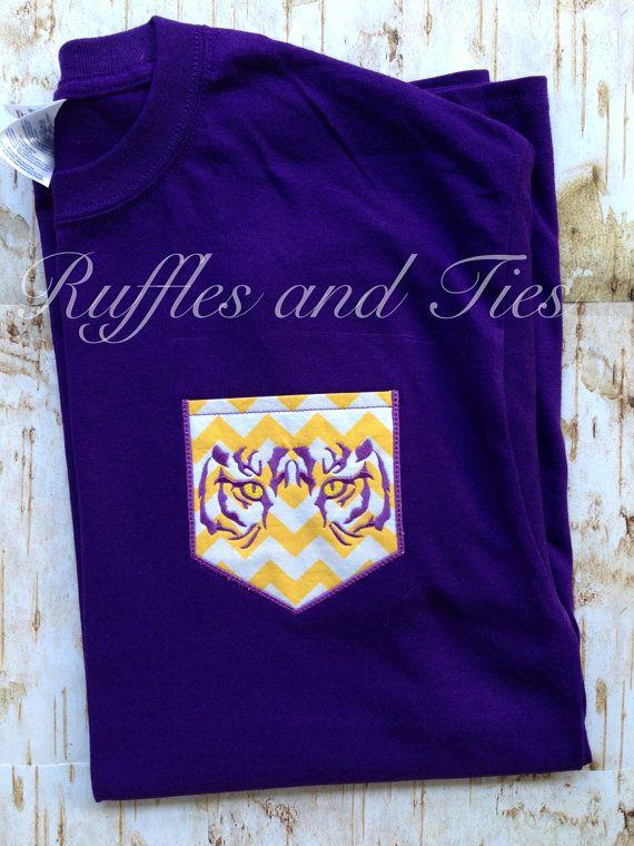Tiger purple and gold chevron pocket t shirt by Rufflesandtiesms, $20.00