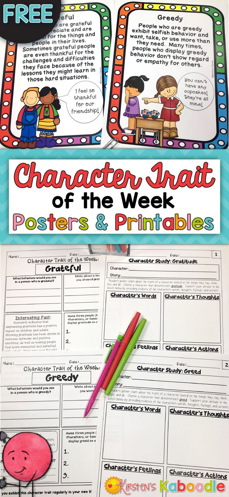 FREE! Are you teaching your students about character traits? These free posters and printables are engaging for your students and allow them to reflect and make connections between themselves, literature, and the world.  Each trait of the week has two printable worksheets that can be copied front to back.  Even better.... they are FREE! Enjoy!