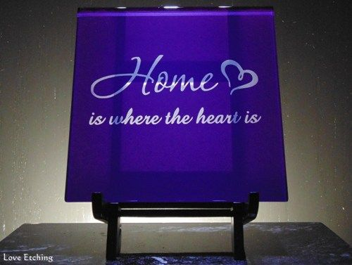 """""""Home is where the Heart is"""" Etched Glass Purple Wall Tile Trivet"""