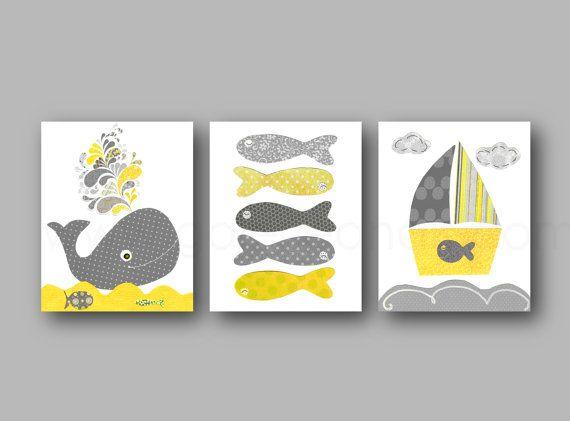 Il sagit dun ensemble de tirages sur papier photo mat qui devra être encadrée. Pépinière nautique art baleine de bain art bateau fish art orange marine pépinière océan mer nautique de salle de bains art enfants - ensemble de 3 tirages  Nautique ensemble sur le thème des imprimés, dans les couleurs orange et marine. Art de la grande muraille pour la décoration de salle de bains avec un beau sourire baleine un voilier surfer sur les vagues bleues bouclés et certains poissons très colorés…