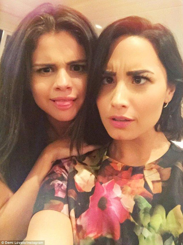 Hanging in there: Selena Gomez and Demi Lovato posed for a quirky selfie on Thursday which...