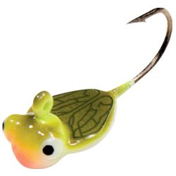 Northland Fishing Tackle: HEXI FLY: Great tipped with Gulp or a wax worm for bluegill, perch, and lite-biting crappies. Best colors: Yellow (pictured here), and orange.