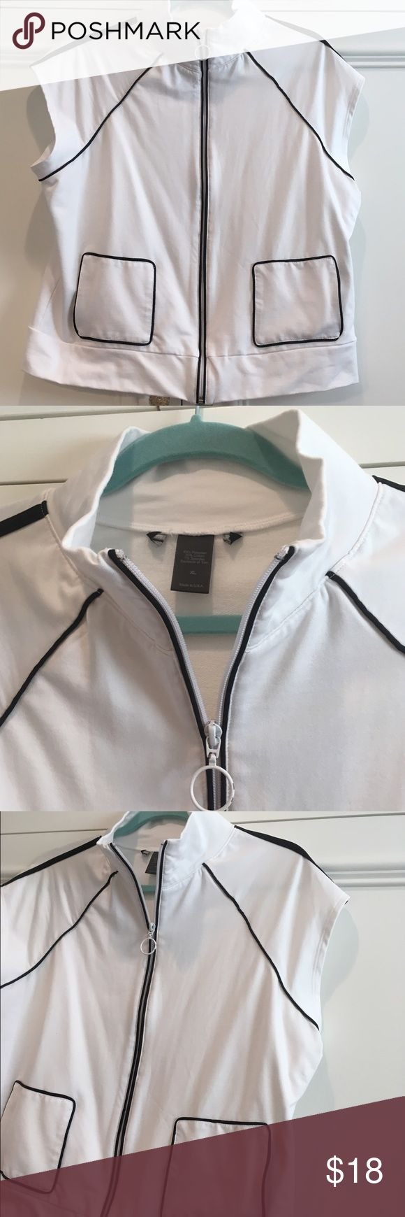 🎀 Sports VEST Tennis Golf- Zip Up 🎀 Great Sports VEST with Zip Up Front. In Clean White and thin black trim. Size XL. Not sure of Company, I cut out itchy label. In excellent condition. Jackets & Coats