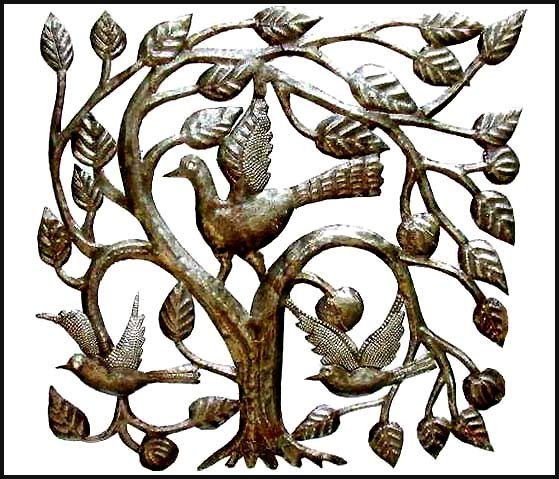 Metal Art Wall Decor Birds In Tree Handcrafted Haitian Steel Drum Wall Decor Metal Bird Art Metal Wall Art Haitian Art 1643 By Haitimetalart On