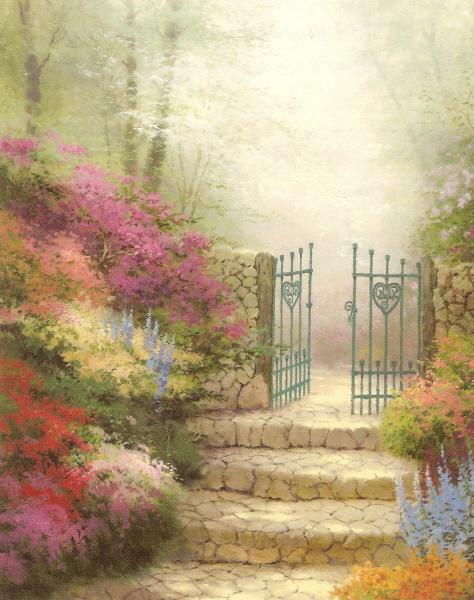 Thomas Kinkade - The Garden of Promise - 1993Cottages Gardens, Artworks