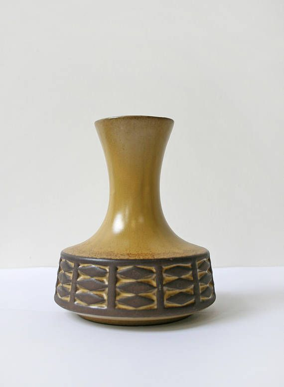 Vintage West German Mustard Brown Funnel Neck Ceramic Vase Ideas