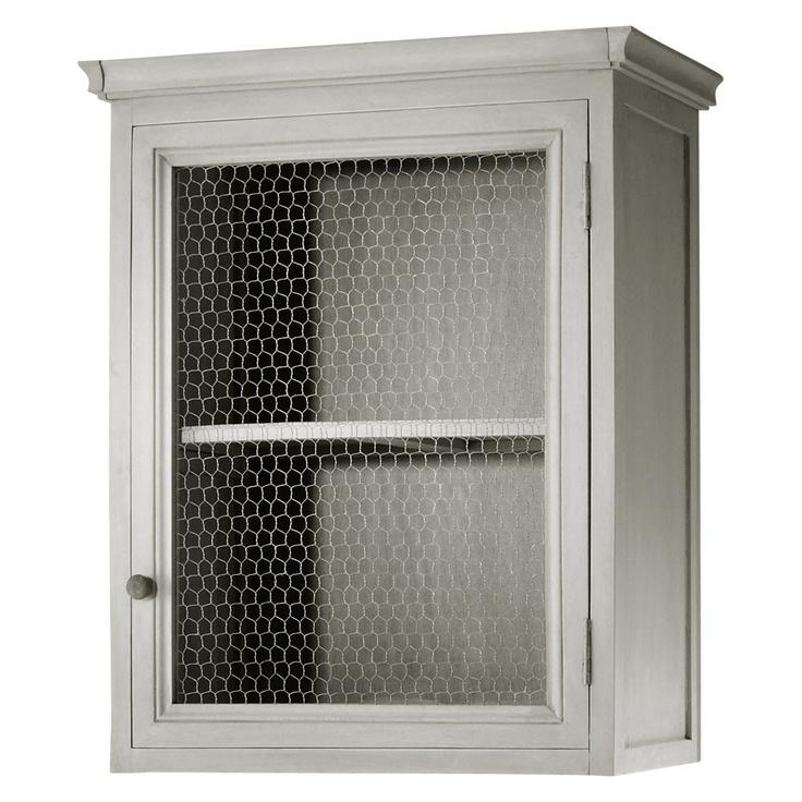 Meuble haut de cuisine ouverture gauche en bois d 39 acacia gris l 60 cm meuble grillage - Armoire avec grillage poule ...