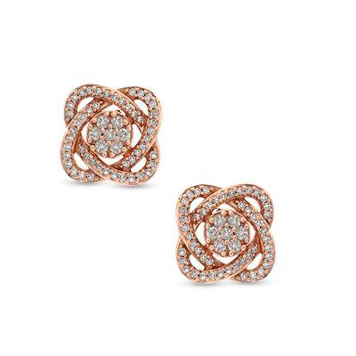 Zales 1/6 CT. T.w. Enhanced Green Diamond Butterfly Stud Earrings in Sterling Silver and 14K Gold 1T1lzJGAc1
