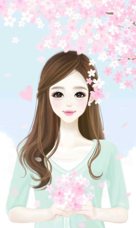 Pin by ve on kartun girly drawings korean anime girl - Gambar anime girl cute ...