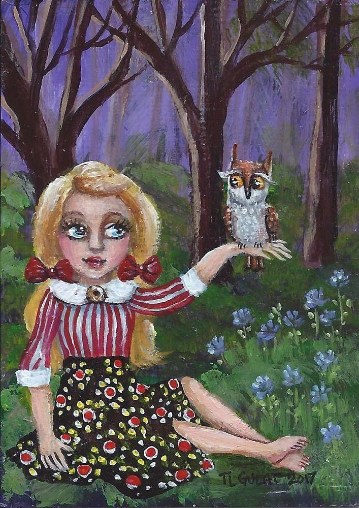 ACEO TW JUN Original Miniature Acrylic Painting Girl Owl Woodland Gulat #FolkArtOutsiderArt