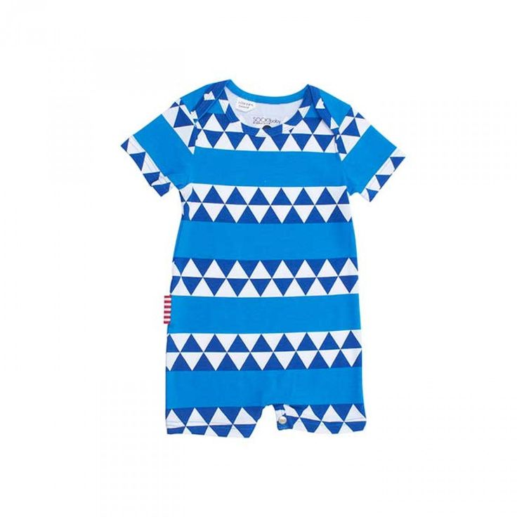 SOOKIbaby's Little Nordic Geometric Envelope Neck Short Sleeve Playsuit for Baby Boys