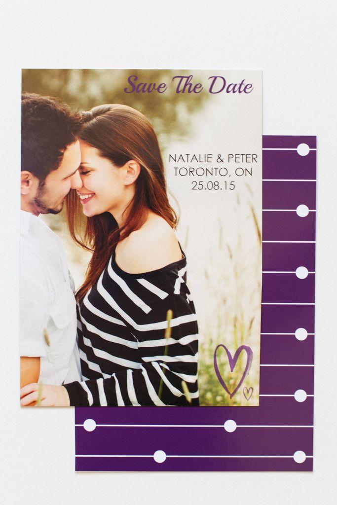 Purple Hearts Save the Date Card // www.ivystripe.com