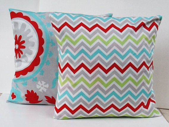 Set of 2 suzani Decorative Pillow Covers --Designer Fabric-- 18x18--Throw Pillow-Turquoise, Red, Gray and White. $24.00, via Etsy.