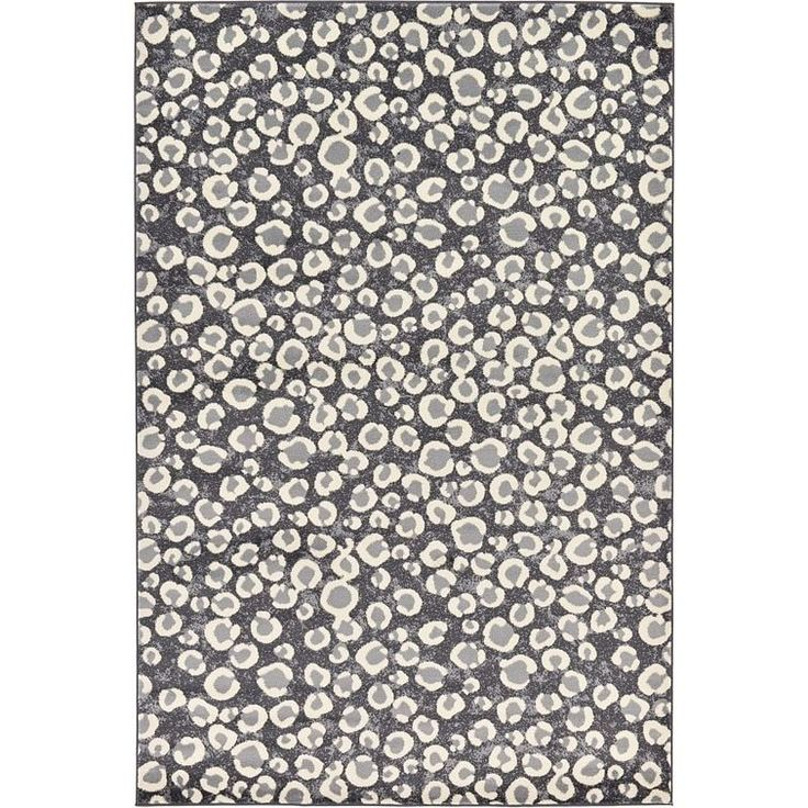 Unique Loom Leopard Safari Cotton, Polypropylene Rug (6' x 9') (Dark Gray), Ivory Cream, Size 6' x 9'