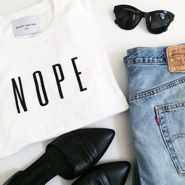 Jenn from Le Fashion with the Nope Tee #graphic    Get the white tee: http://www.nastygal.com/clothes/nope-tee?utm_source=pinterest&utm_medium=smm&utm_term=ngdib&utm_content=nasty_gals_do_it_better&utm_campaign=pinterest_nastygal