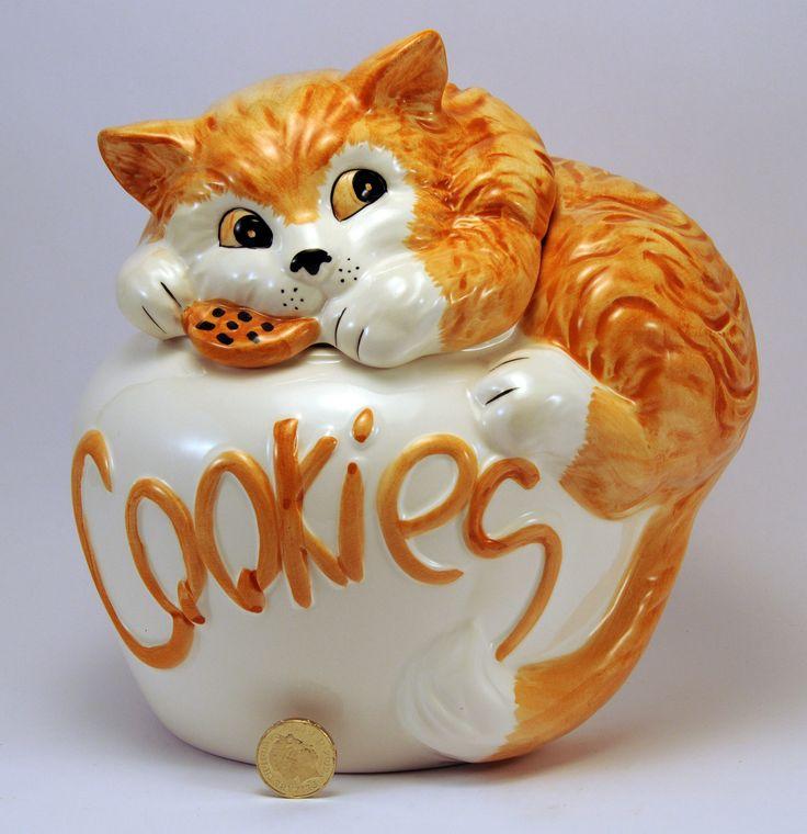 рыжий кот охраняет вкусное печенье внутри его банки. 20 х 20 х 18  -  70-е -  керамическая  Англия. Большой Уникальный рыжий кот куков