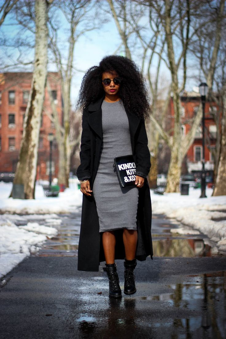 Try teaming a black coat with grey bodycon dress for a glam and trendy getup. Finish off your look with black leather lace-up ankle boots.   Shop this look on Lookastic: https://lookastic.com/women/looks/black-coat-grey-bodycon-dress-black-lace-up-ankle-boots/14074   — Grey Bodycon Dress  — Black Coat  — Black and White Print Leather Clutch  — Black Leather Lace-up Ankle Boots