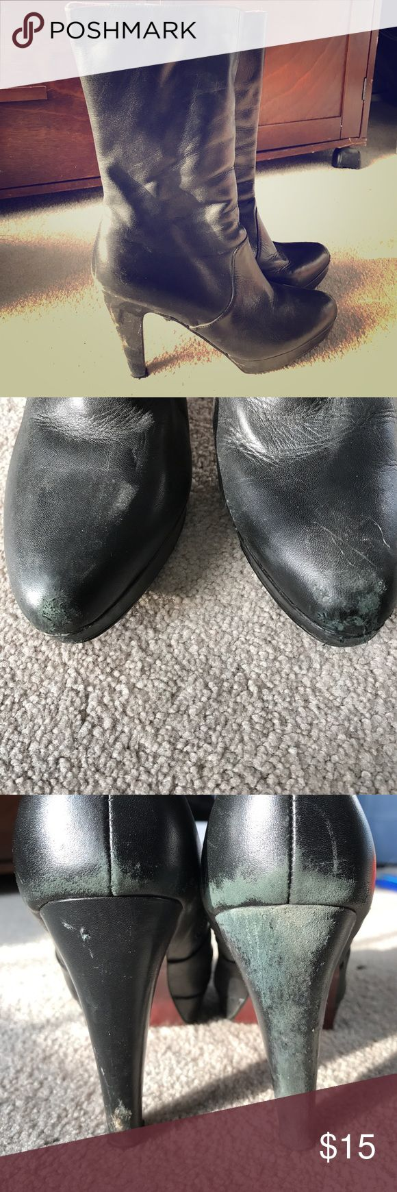 Colin Stuart size 8 Black Boots Black Colin Stuart boots, signs of wear on heel and toes. Very comfortable and well-loved. Colin Stuart Shoes Heeled Boots