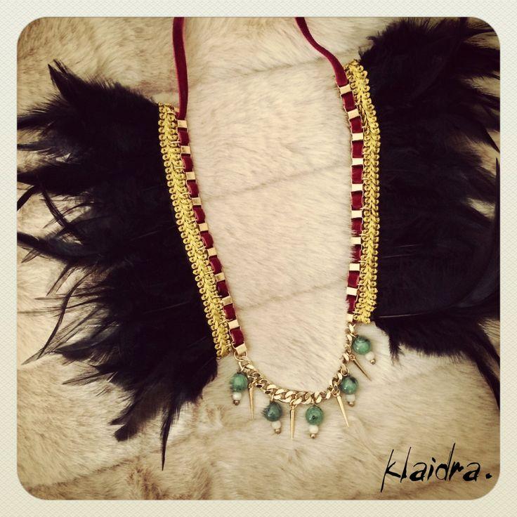 Christmas Limited Edition Feather Necklace #christmas2014 #klaidrajewelry #statement #handmade #necklace #feathers #velvet #limitededition #greekdesigners #klaidra #newyear #happy2015 #nye #festive