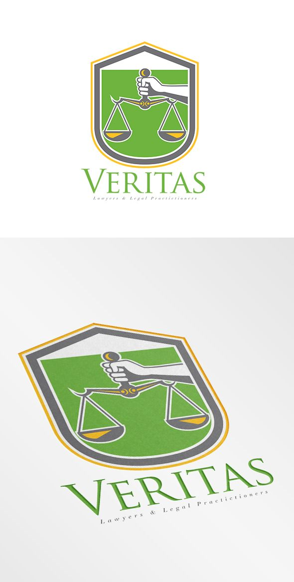 Veritas Lawyers Logo. Logo showing illustration of a hand holding scales of justice set inside shield crest done in retro style. 100% re-sizeable vectors. Logo available in vector EPS and AI