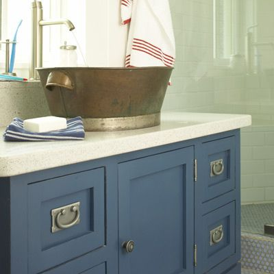 Love the blue vanity and but basin.  White towel with red stripes.: Boys Bathroom, Beach House, Kids Bathroom, House Ideas, Bathroom Vanities, Beach Bathroom, Sink, Bathroom Ideas