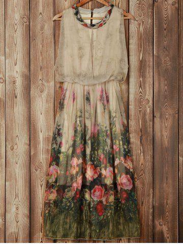 Trendy Scoop Neck Sleeveless Floral Print Women's Chiffon Dress Chiffon Dresses | RoseGal.com Mobile